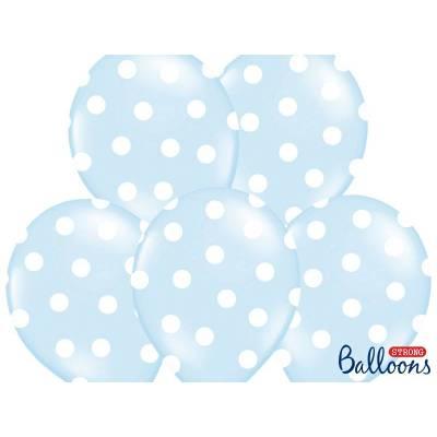 Ballons 30cm pois bleu pastel pastel