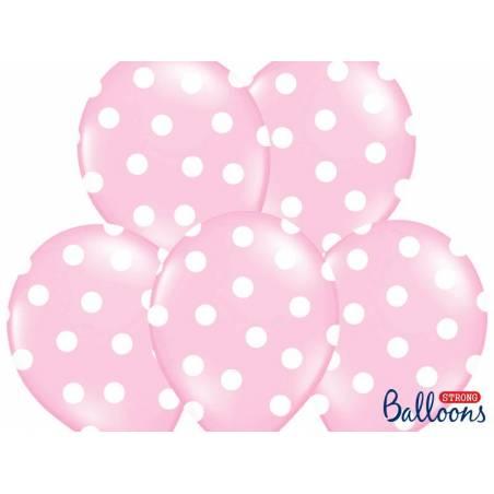 Ballons 30cm pois rose pastel