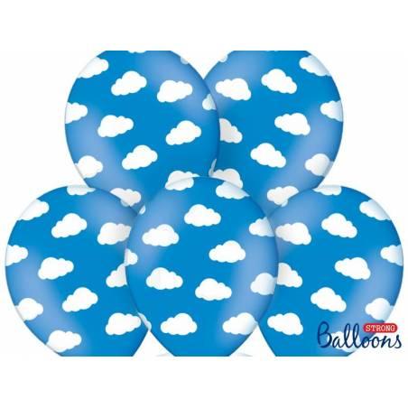 Ballons 30cm nuages bleuet pastel bleuet