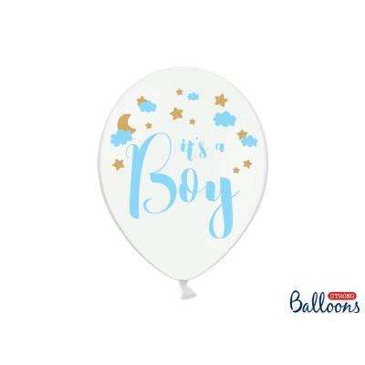 Ballons 30cm c'est un garçon Pastel Blanc pur