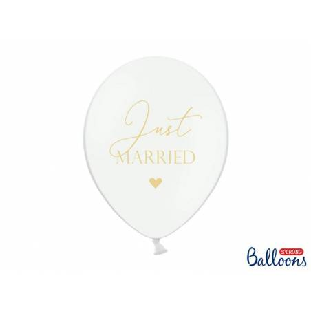 Ballons 30cm Just Married Pastel Blanc pur