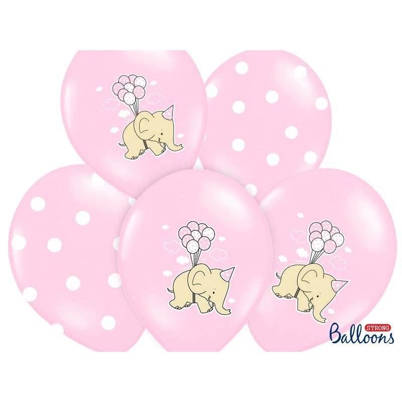 Ballons 30cm éléphant mélange rose pastel