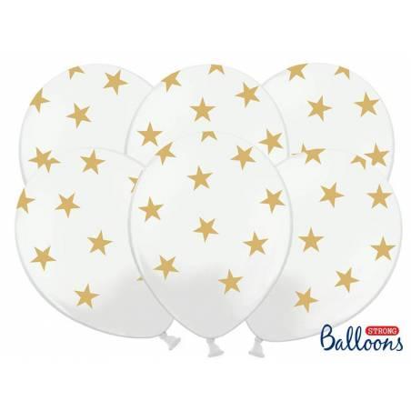 Ballons 30cm étoiles pastel blanc pur