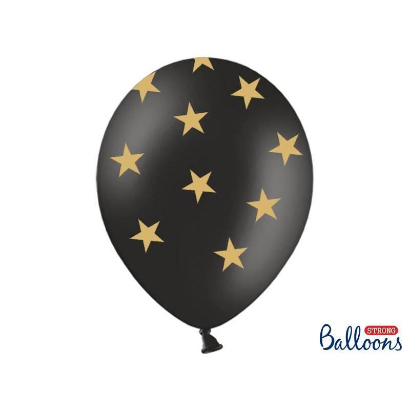 Ballons 30cm étoiles noir pastel