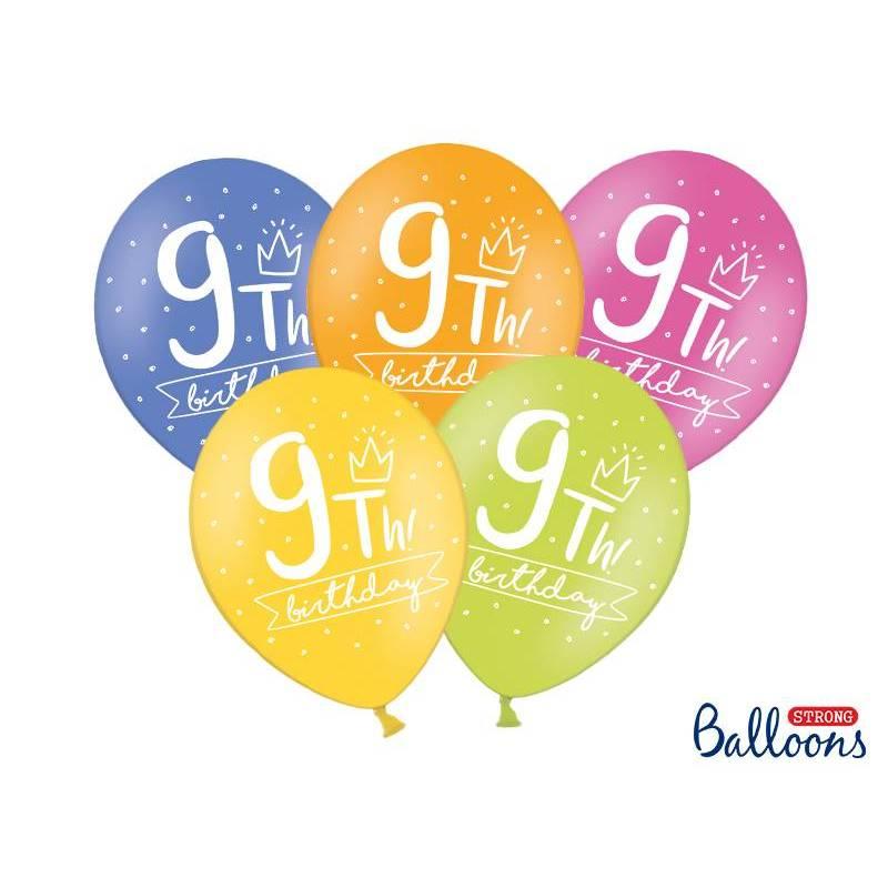 Ballons forts 30cm 9ème! anniversaire mélanger