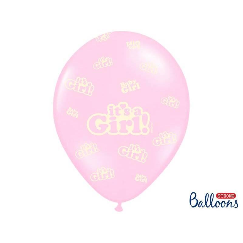 Ballons 30cm c'est une fille rose pastel