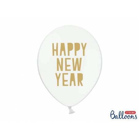 Ballons 30 cm bonne année pastel blanc pur