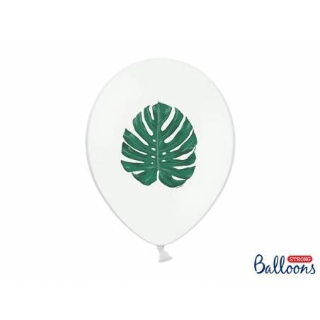 Ballons 30 cm Aloha - Feuilles Pastel Blanc pur