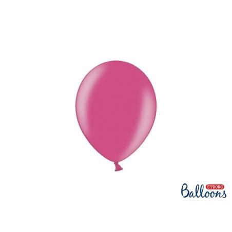 Ballons forts 12cm rose chaud métallique