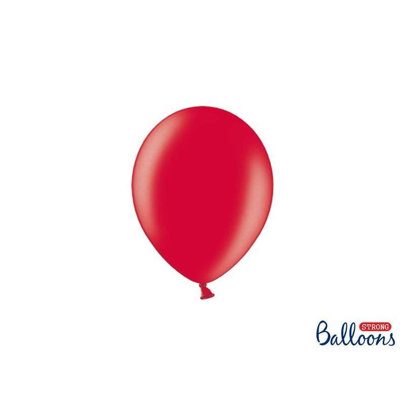 Ballons forts 12cm rouge pavot métallique
