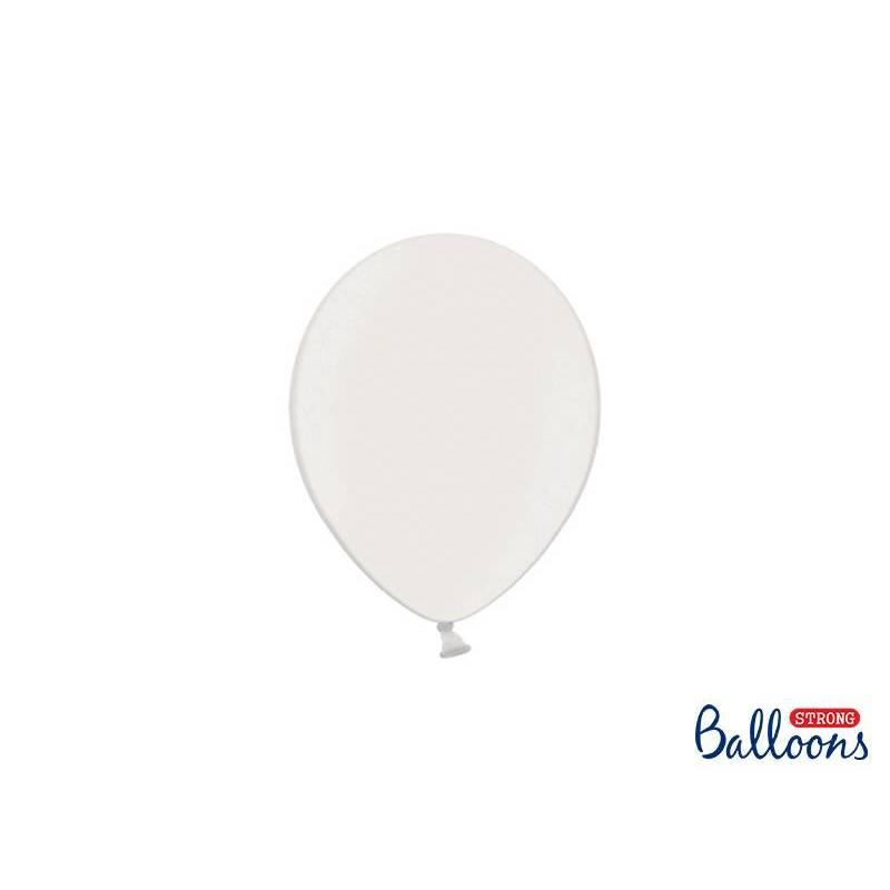 Ballons forts 12cm blanc pur métallique