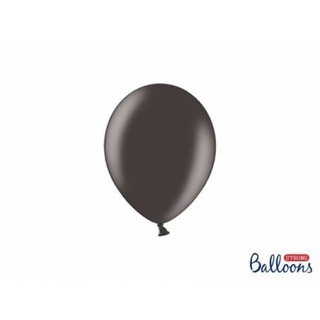 Ballons forts 12cm noir métallique
