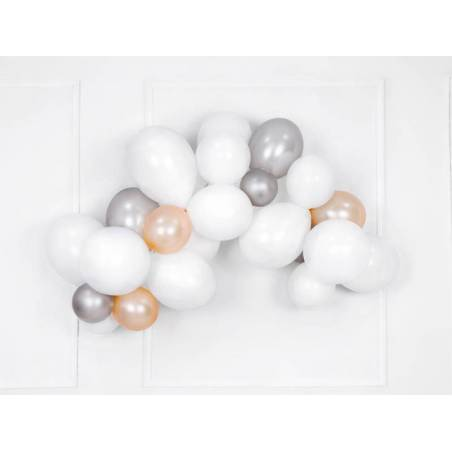 Ballons forts 12cm neige argentée métallisée