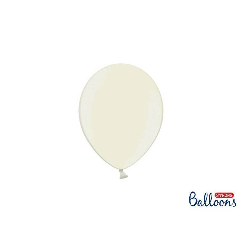 Ballons forts 12cm crème légère métallique