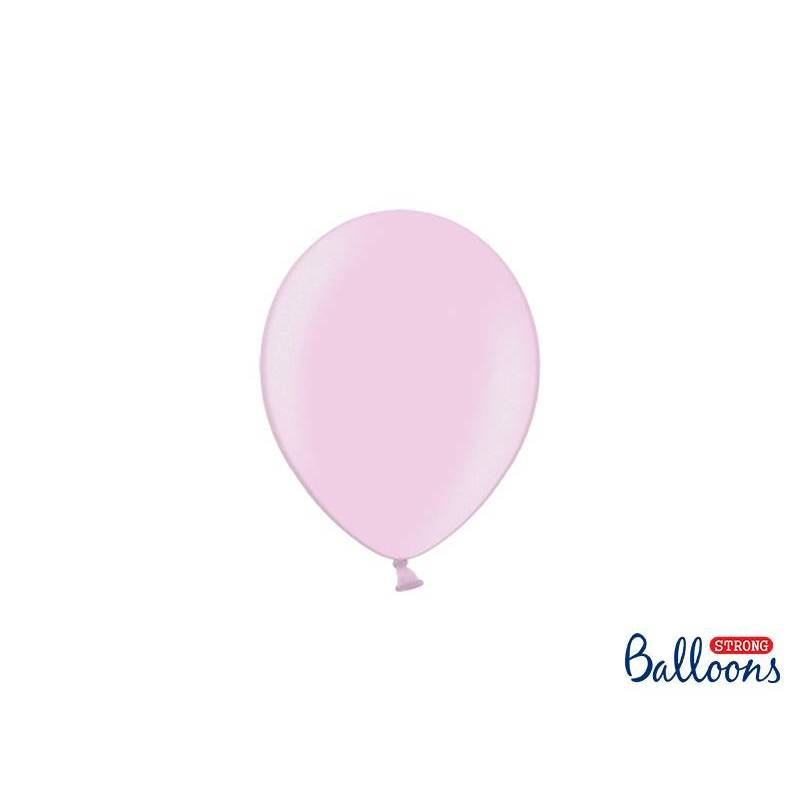 Ballons forts 12cm rose bonbon métallique