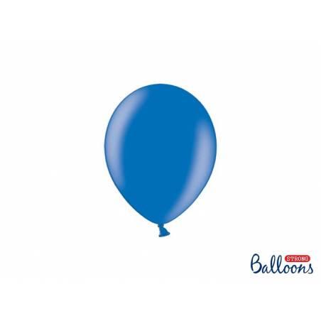 Ballons forts 12cm bleu métallique