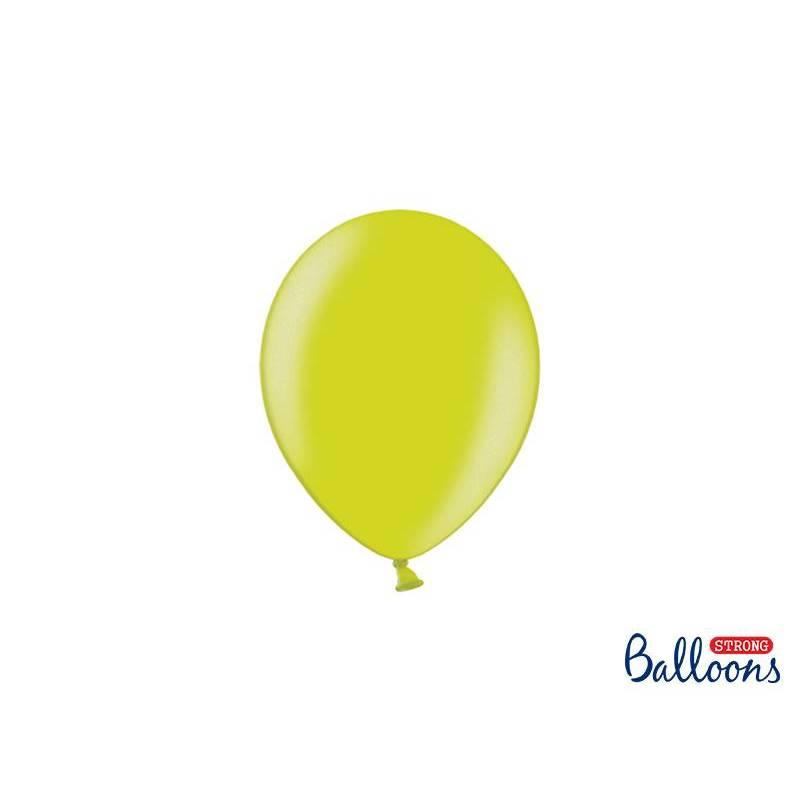 Ballons forts 12cm vert lime métallique