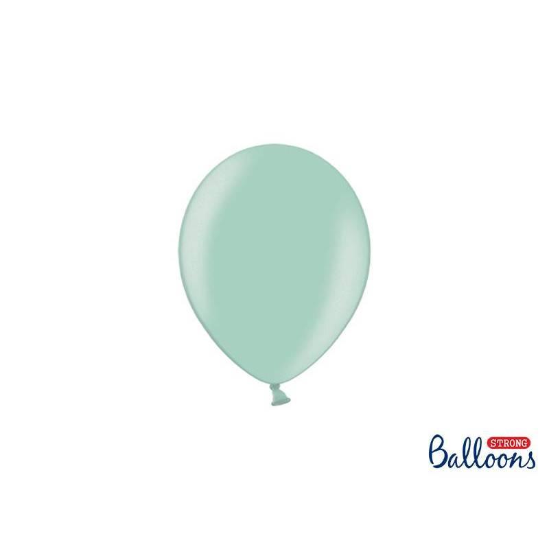 Ballons forts 12cm vert menthe métallisé