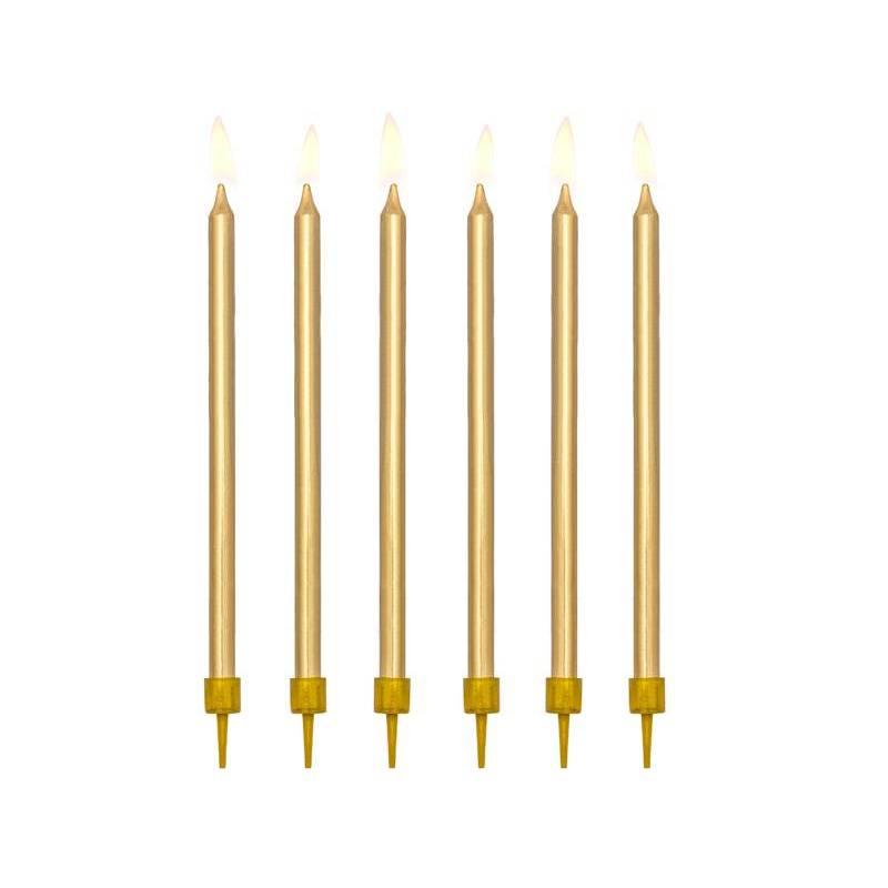 Bougies d'anniversaire plates dorées 125 cm