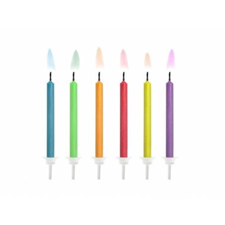 Bougies d'anniversaire flammes colorées mélanger