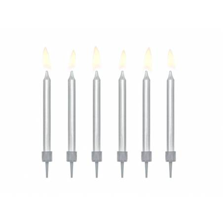 Bougies d'anniversaire plates argentées 6cm
