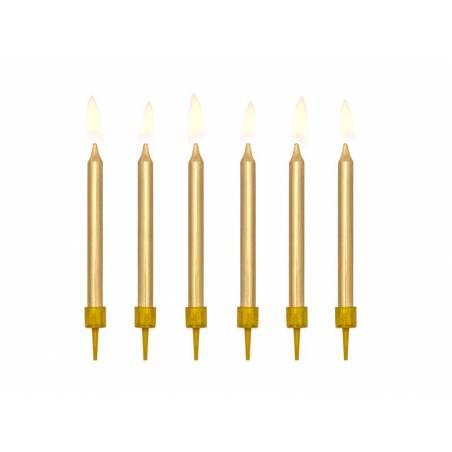 Bougies d'anniversaire plates dorées 6cm