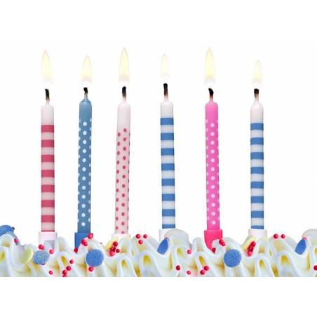 Bougies d'anniversaire Pois et rayures mélangez 65 cm
