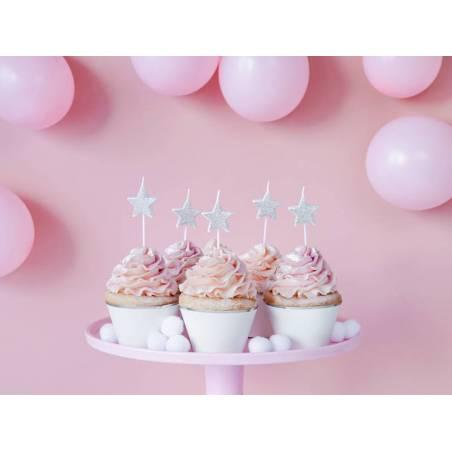Bougies d'anniversaire Coeurs argent 3.5cm