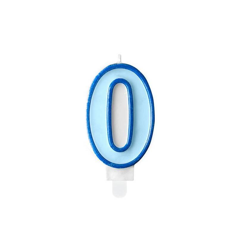 Bougie d'anniversaire numéro 0 bleue 7cm
