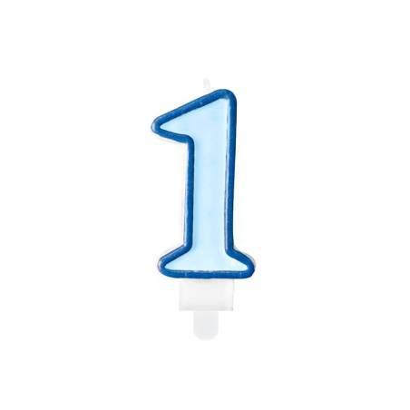 Bougie d'anniversaire numéro 1 bleue 7cm