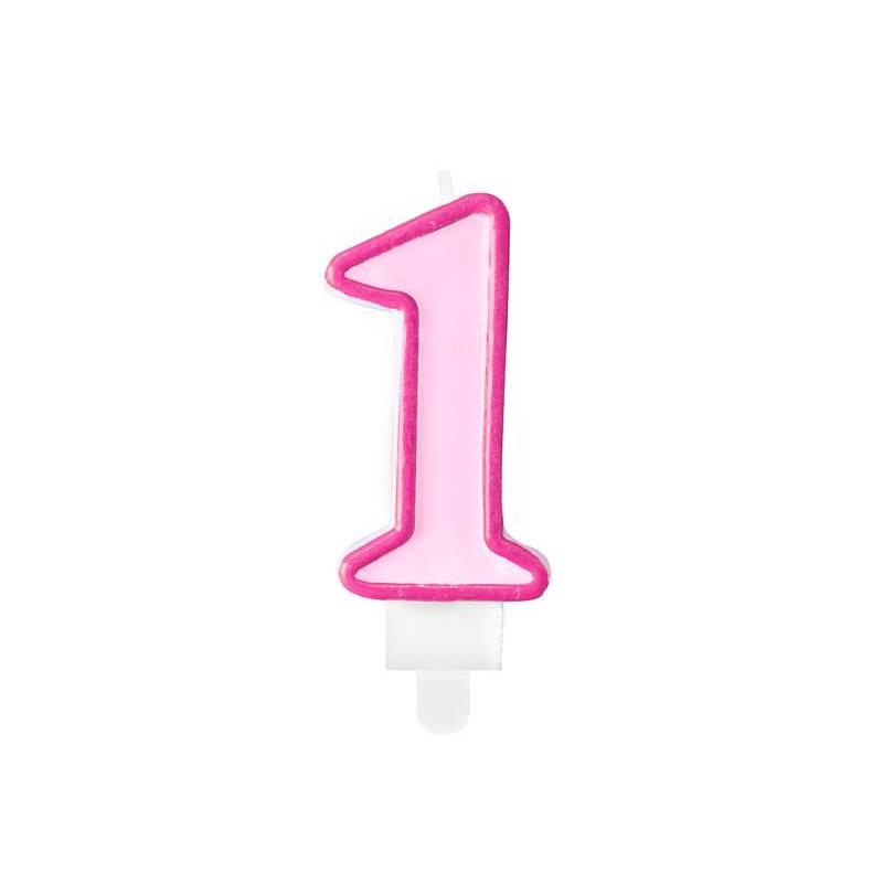 Bougie d'anniversaire numéro 1 rose 7cm