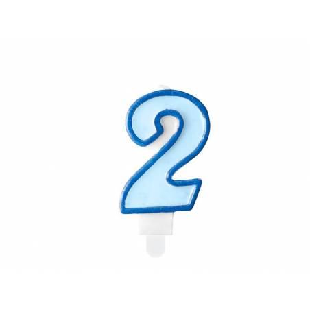 Bougie d'anniversaire numéro 2 bleue 7cm
