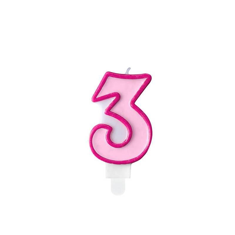 Bougie d'anniversaire numéro 3 rose 7cm