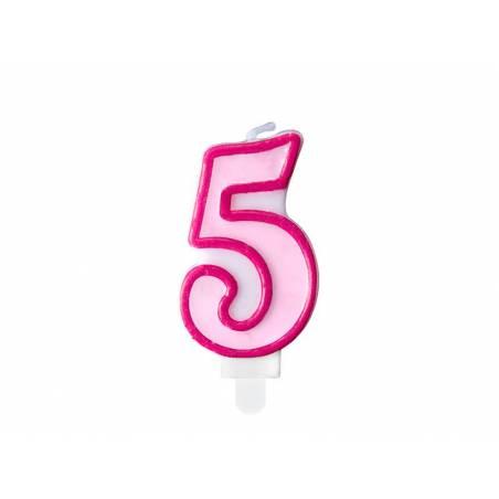 Bougie d'anniversaire numéro 5 rose 7cm