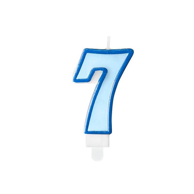 Bougie d'anniversaire numéro 7 bleue 7cm