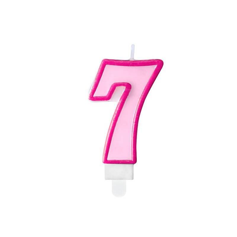 Bougie d'anniversaire numéro 7 rose 7 cm