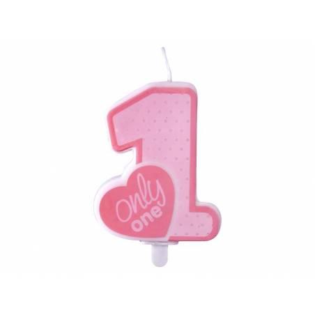 Bougie d'anniversaire Only One rose pâle 8cm