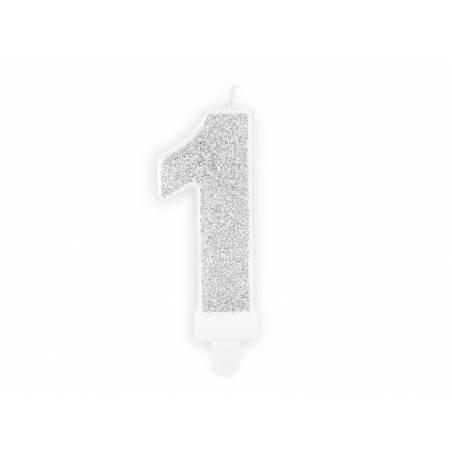 Bougie d'anniversaire numéro 1 argentée 7cm