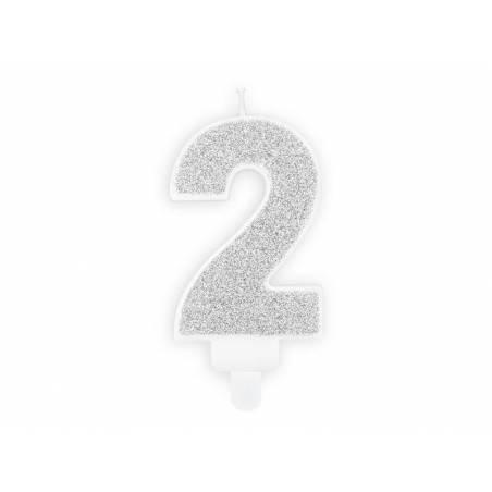 Bougie d'anniversaire numéro 2 argentée 7cm