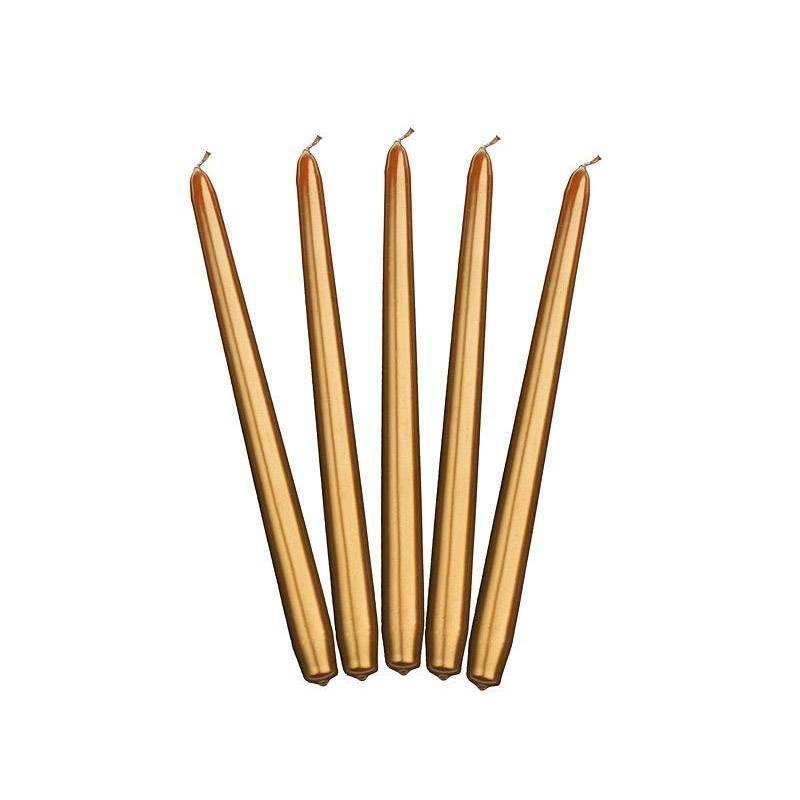 Bougies coniques métalliques or 29cm