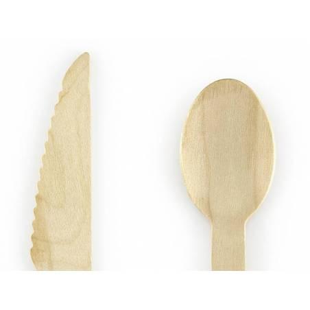 Couverts en bois paille 16cm