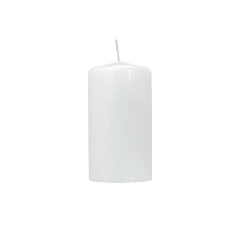 Pilier bougie laqué blanc 12 x 6 cm