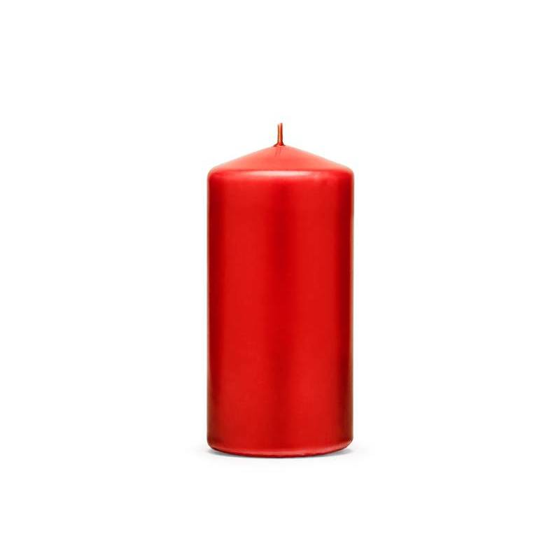 Pilier bougie mat rouge 12 x 6 cm