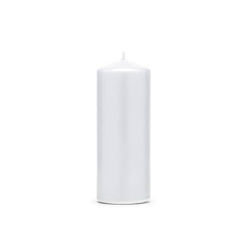 Pilier bougie mat blanc 15 x 6 cm