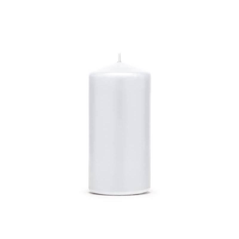 Pilier bougie mat blanc 12 x 6 cm