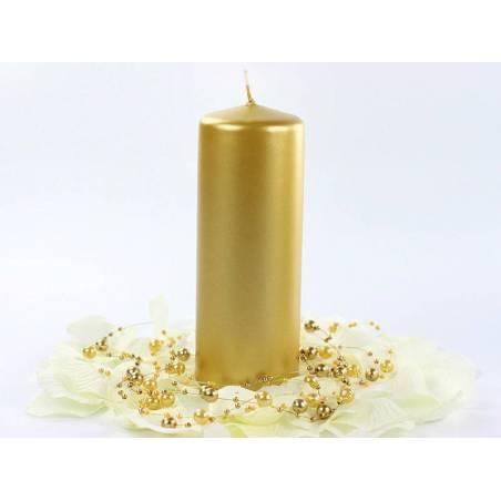 Bougie de pilier métallique or 15 x 6 cm