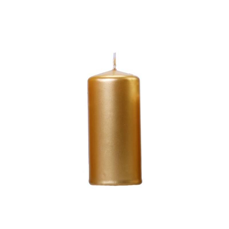 Bougie de pilier métallique or 12 x 6 cm