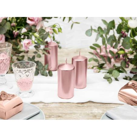 Bougie pilier métallique or rose 12x6cm