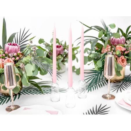 Bougies coniques mates rose pâle 24cm