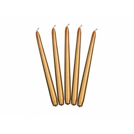 Bougies coniques métalliques or 24cm